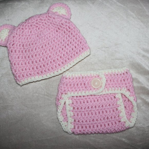 Nwt Pink Bear 3-6 month Diaper Cover and hat set